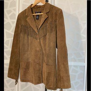 Denim & Co Suede Leather Western Fringe Jacket